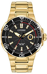 Citizen Endeavor Eco-Drive Collection of Ocean Sport Watches Black Dial, Gold-Tone Steel Case & Bracelet (AW1422-50E)