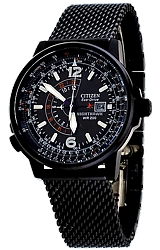 Citizen Nighthawk Pilot's Eco-Drive Watches Black PVD Case and Black PVD Steel Mesh Bracelet (BJ7009-58E)