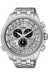 Citizen Pilot's Flight Perpetual Calendar Alarm Chronograph Watches E6B Flight Computer Bezel, All Stainless Steel (BL5400-52A)