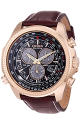 Citizen Pilot's Flight Perpetual Calendar Alarm Chronograph Watches Rose Goldtone Case, Classic Padded and Stitched Leather Strap (BL5403-03X)