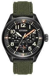 Citizen Military Eco-Drive Watch Collection Black Dial Men's Multifunction Officer's Watch, Heavy Olive Green Strap (BU2055-16E)