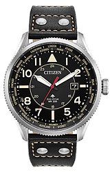Citizen Promaster Nighthawk World Time ZULU Time Pilot's Watch  Black Dial, Antiqued styled Coin Edged Bezel, Black Leather Strap (BX1010-02E)