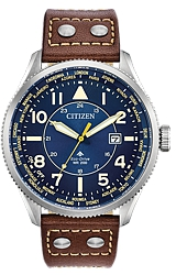 Citizen Promaster Nighthawk World Time ZULU Time Pilot's Watch  Two Tone Blue Dial, Steel Case with Coin Edged Bezel, Tan Leather Strap (BX1010-11L)