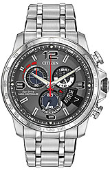 Citizen Chrono Time A-T Gray Dial with Red Accents and Stainless Steel Bracelet (BY0100-51H)