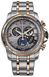Citizen Chrono Time A-T Two-Tone Rose Gold and Steel, Grey Dial (BY0106-55H)