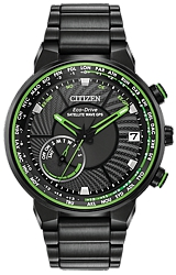 Citizen Satellite Wave GPS Freedom World Time Watches Black Dial with Green Highlights, Black PVD Steel Case & Bracelet (CC3035-50E)