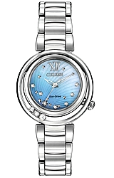 Citizen L Sunrise Eco-Drive Watches for Women 10 Diamonds in all Stainless Steel Case with a Blue Mother-of-pearl Dial (EM0320-59D)