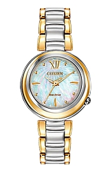 Citizen L Sunrise Eco-Drive Watches for Women Two tone Case & Bracelet, Mother of Pearl Dial (EM0337-56D)