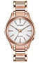 Citizen Modena Pink Gold Tone Women's Eco-Drive Watch White and Silvertone Patterned Dial, Pink Gold Tone Bracelet with push button clasp