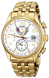 Citizen Ladies World Time A-T Watches Goldtone Case & Bracelet, White Fluted Dial (FC0002-53A)