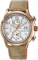 Citizen Ladies World Time A-T Watches Beige Leather Band (FC0003-18D)