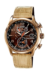 Citizen Ladies World Time A-T Watches Fluted Brown Dial, Rose Goldtone Case, Beige Strap (FC0003-26X)