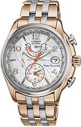 Citizen Ladies World Time A-T Watches Two Tone Rose Gold Stainless Steel Bracelet (FC0006-52D)