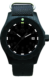 H3 Tactical Trooper Tritium Watch Collection New Trooper Carbon Model BLACKOUT! All Black Numerals, White Tritium, Nylon Strap (H3.3302.779.3.4)