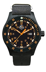 H3 Tactical Trooper Tritium Watch Collection New Trooper Colors Watch Orange Tritium & Numerals, NATO Nylon Strap (H3.703543.12)