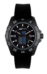 ArmourLite The Thin Blue Line, Law Enforcement Limited Edition T100 Tritium Watches, ISO3005, ISO3006 Mid-Size Military Grade Watch, Thin Blue Line Flag Logo on Front and Back (ISO3006)