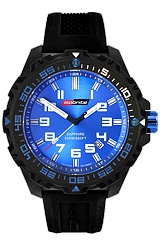 ArmourLite IsoBright Valor T100 Color Tritium Watches Blue Dial with Blue Tritium, Black Carbon Reinforced Polymer Case and Silicone Dive Strap (ISO301)
