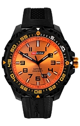 ArmourLite IsoBright Valor T100 Color Tritium Watches Orange Dial with Orange Tritium, Black Carbon Reinforced Polymer Case and Silicone Dive Strap (ISO302)