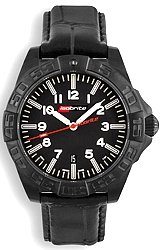 ArmourLite Limited Edition IsoBright Swiss Automatic Tritium Watches Stunning 64 T100 Tritium Tubes, Black PVD Steel Case, Leather Strap (ISO712)