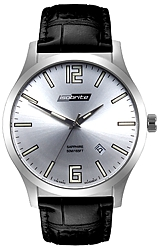 ArmourLite IsoBright Grand Slimline Series of Men's Ultra Thin Tritium Watches Silver Dial, Black Leather Strap (ISO901)
