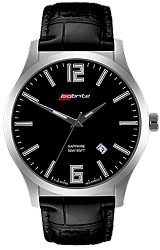 ArmourLite IsoBright Grand Slimline Series of Men's Ultra Thin Tritium Watches Black Dial, Black Leather Strap (ISO902)