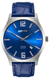 ArmourLite IsoBright Grand Slimline Series of Men's Ultra Thin Tritium Watches Metallic Blue Dial, Blue Leather Strap (ISO903)