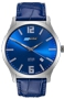 ArmourLite IsoBright Grand Slimline Series of Men's Ultra Thin Tritium Watches Metallic Blue Dial, Blue Leather Strap