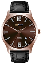 ArmourLite IsoBright Grand Slimline Series of Men's Ultra Thin Tritium Watches Brown/Copper Metallic Dial, Black Leather Strap (ISO904)