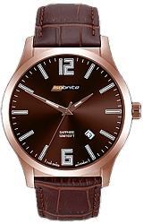 ArmourLite IsoBright Grand Slimline Series of Men's Ultra Thin Tritium Watches Brown Metallic Dial, Brown Leather Strap (ISO905)