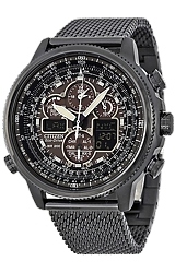 Citizen Navihawk A-T Pilot's Flight Watch Black Stainless Steel with Black Steel Mesh Bracelet (JY8037-50E)