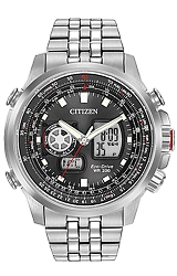 Citizen Promaster Air, Pilot's World Time Flight Computer Digital Analog, Stainless Steel Case & Braclet (JZ1060-76E)