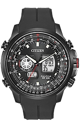 Citizen Promaster Air, Pilot's World Time Flight Computer Digital-Analog, Black PVD Steel Case, Rubber Dive Strap (JZ1065-13E)