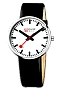 Mondaine Official Swiss Railways Giant Backlight Watch Classic White Swiss Railways Dial, Leather Strap, Superluminova NIght Visibility