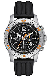 Traser Extreme Sport Chronograph Black Dial, Orange Highlights, Black Silicon Strap (P6602.853.0S.01)