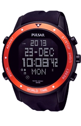 Pulsar Digital World Time, Alarm, Schedule & Chronograph Watch Black PVD Case and Black Dive Strap, Orange Bezel (PQ2017)