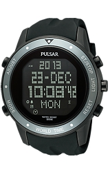 Pulsar Digital World Time, Alarm, Schedule & Chronograph Watch Black PVD Case and Black Dive Strap, Matte Gray Bezel (PQ2019)
