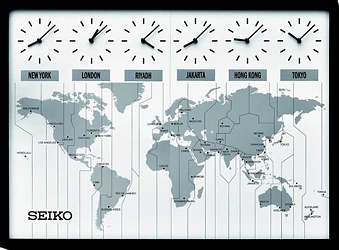 Seiko Contemporary Wall Map Clock with Six Custom Time Zones