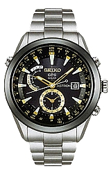 Seiko Astron Astron GPS Solar Watches TITANIUM Case and Bracelet, Goldtone Highlights, Ceramic Bezel, Black Dial  (SAST005)