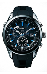 Seiko Astron Astron GPS Solar Watches Black Dial with Blue Markers, Black Rubber Strap w/Deployment Buckle (SAST009)