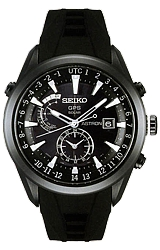 Seiko Astron Astron GPS Solar Watches Black Ion Finish, Black Dial, Black Rubber Strap w/Deployment Buckle (SAST011)