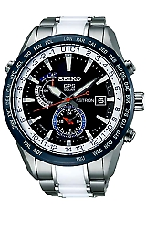 Seiko Astron Astron GPS Solar Watches LIMITED EDITION: White Ceramic Bracelet Inserts, Black Dial, Blue Bezel (SAST029)
