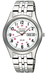 Seiko Railroad Approved SOLAR Wrist Watch White Dial, Black Numbers, Stainless Steel Case & Bracelet (SNE045)