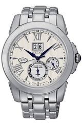 Seiko Le Grand Sport Kinetic Perpetual Calendar Watches Steel Case & Bracelet, White Dial, Black Hands & Markers (SNP065)