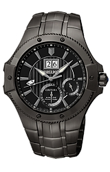 Seiko Coutura Kinetic Perpetual Calendar Watches Blackout Style - All Black Dial, Case & Bracelet (SNP071)