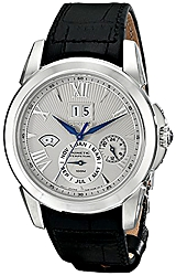 Seiko Le Grand Sport Kinetic Perpetual Calendar Watches Silver Fluted Dial, Steel Case, Black Leather Band (SNP107)