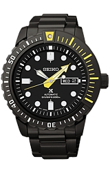 Seiko PROSPEX 200 Meter, 24 jewel Automatic Dive Watches Black PVD Stainless Steel Case & Bracelet with Yellow Highlights (SRP633)