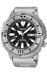 Seiko Monster Baby Tuna Dive Watches All Stainless Steel Case & Bracelet, Black Dial (SRP637)