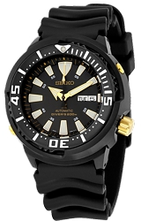 Seiko Monster Baby Tuna Dive Watches Black PVD Steel Case with Rubber Dive Strap (SRP641)