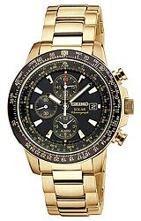 Seiko Prospex SOLAR Aviator Flight Computer Alarm Chronographs Black Dial, Goldtone Steel Case & Bracelet (SSC008)