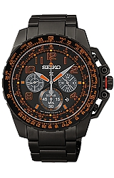 Seiko Prospex SOLAR Military Flight Computer Alarm Chronographs Black PVD Steel Case & Bracelet, Black Dial with Orange-Red Highlights (SSC277)
